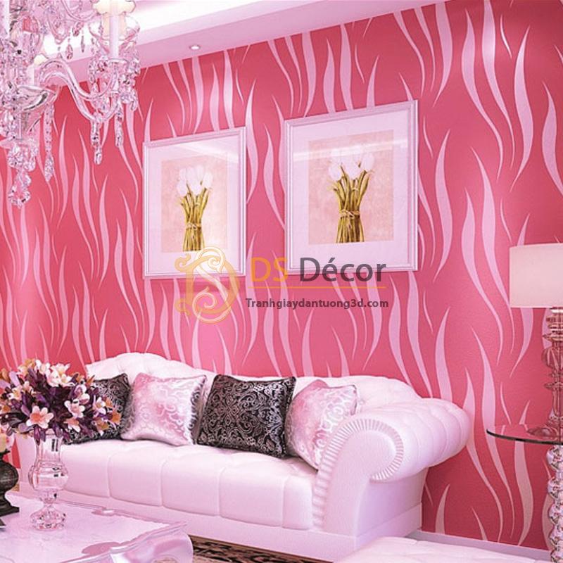 Giấy dán tường 3d họa tiết rong biển màu hồng