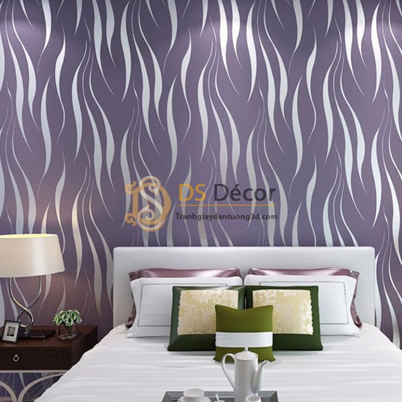 Giấy dán tường họa tiết rong biển màu tím