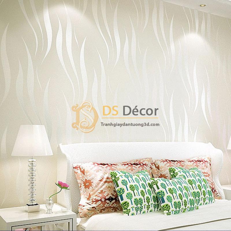 Giấy dán tường họa tiết rong biển màu trắng