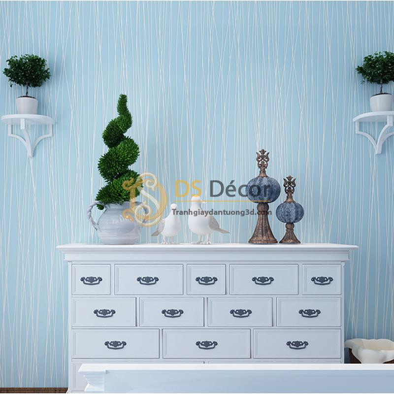 Giấy dán tường 3d hoạ tiết sọc chéo màu xanh dương