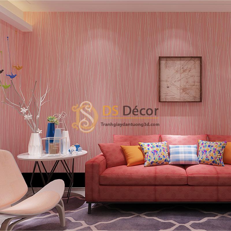 Giấy dán tường 3d hoạ tiết sọc chéo màu hồng