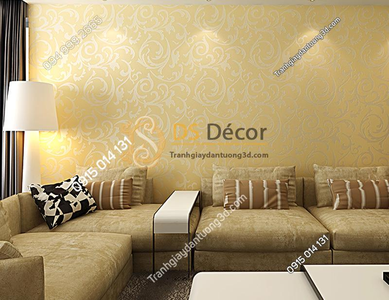 Giấy dán tường 3d hoa văn cách điệu nền be hoa văn trắng
