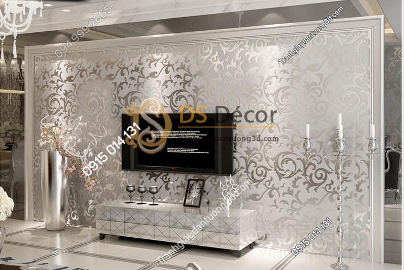 Giấy dán tường 3d hoa văn cách điệu nền trắng hoa văn ánh kim