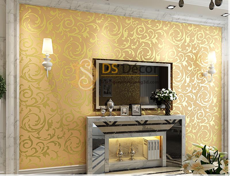 Giấy dán tường 3d hoa văn cách điệu nền hồng hoa văn vàng