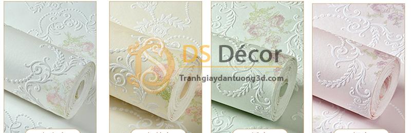 Bốn màu cơ bản của sản phẩm giấy dán tường 3d họa tiết hoa lá cách điệu dập nổi