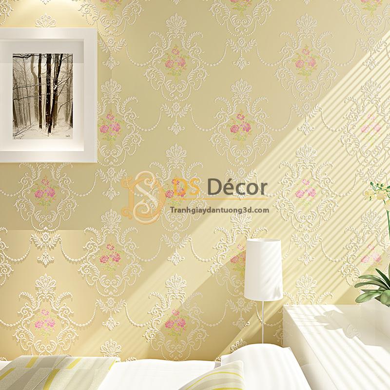 Giấy dán tường 3d họa tiết hoa lá cách điệu dập nổi màu vàng kem
