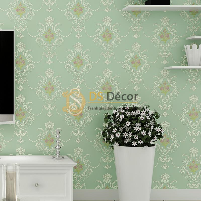 Giấy dán tường 3d họa tiết hoa lá cách điệu dập nổi màu xanh