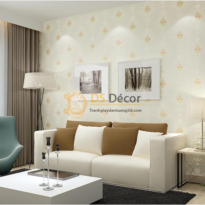 Giấy dán tường 3d họa tiết hoa lá cách điệu dập nổi màu trắng