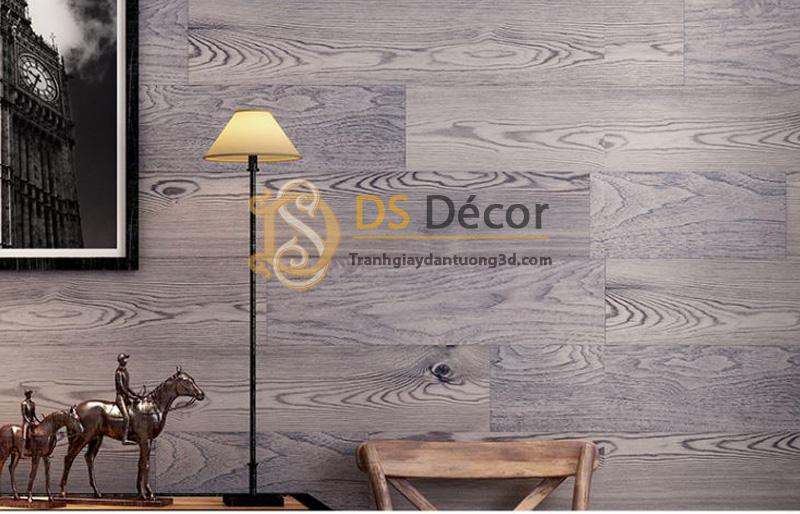 Giấy dán tường 3d họa tiết giả vân gỗ màu tím