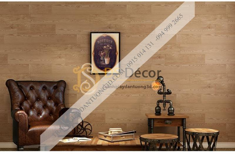 Giấy dán tường 3d họa tiết giả vân gỗ màu nâu nhạt