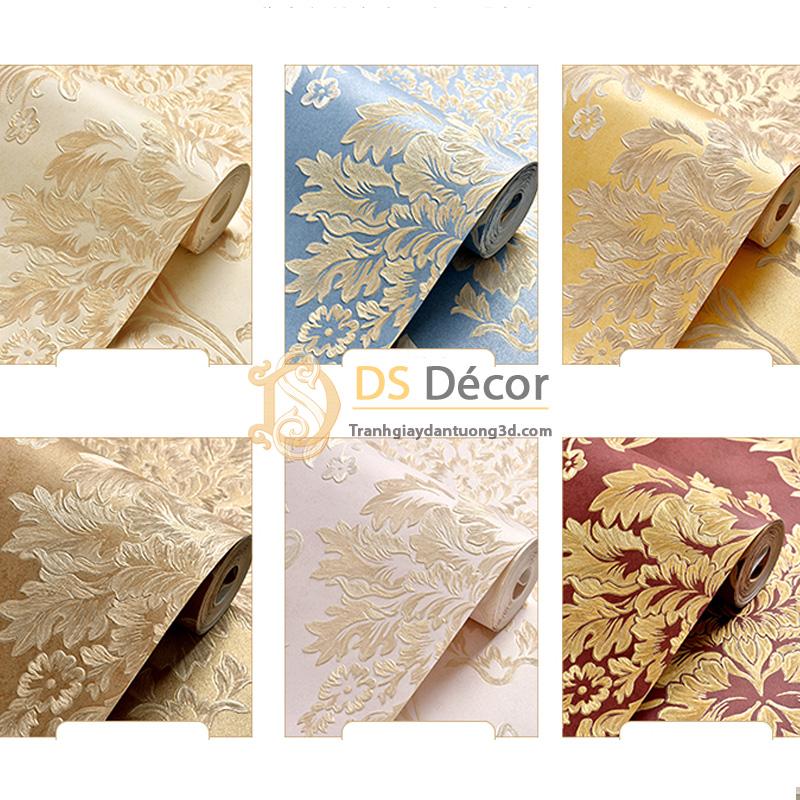 6 màu cơ bản của giấy dán tường 3d hoa văn lá cây dập nổi