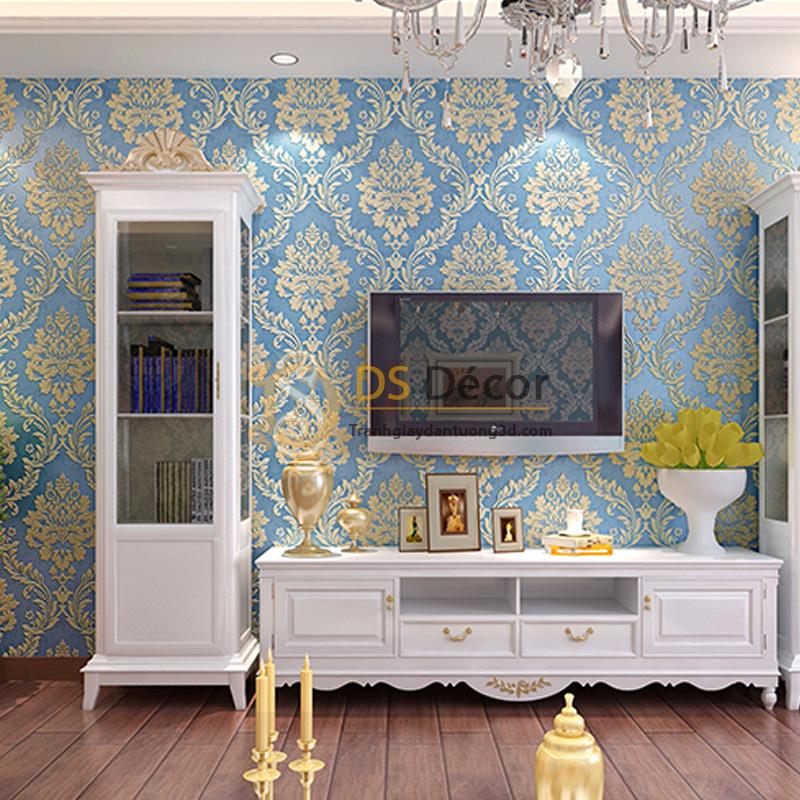Giấy dán tường 3d hoa văn lá cây dập nổi màu xanh dương