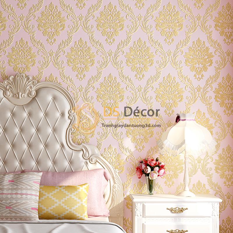 Giấy dán tường 3d hoa văn lá cây dập nổi màu hồng