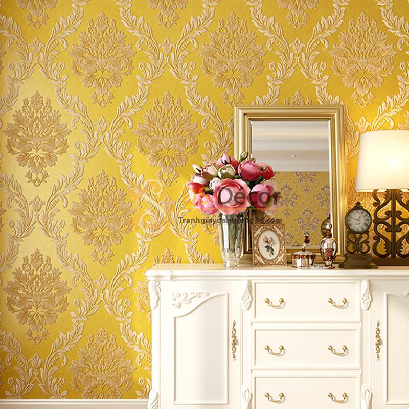 Giấy dán tường 3d hoa văn lá cây dập nổi màu vàng