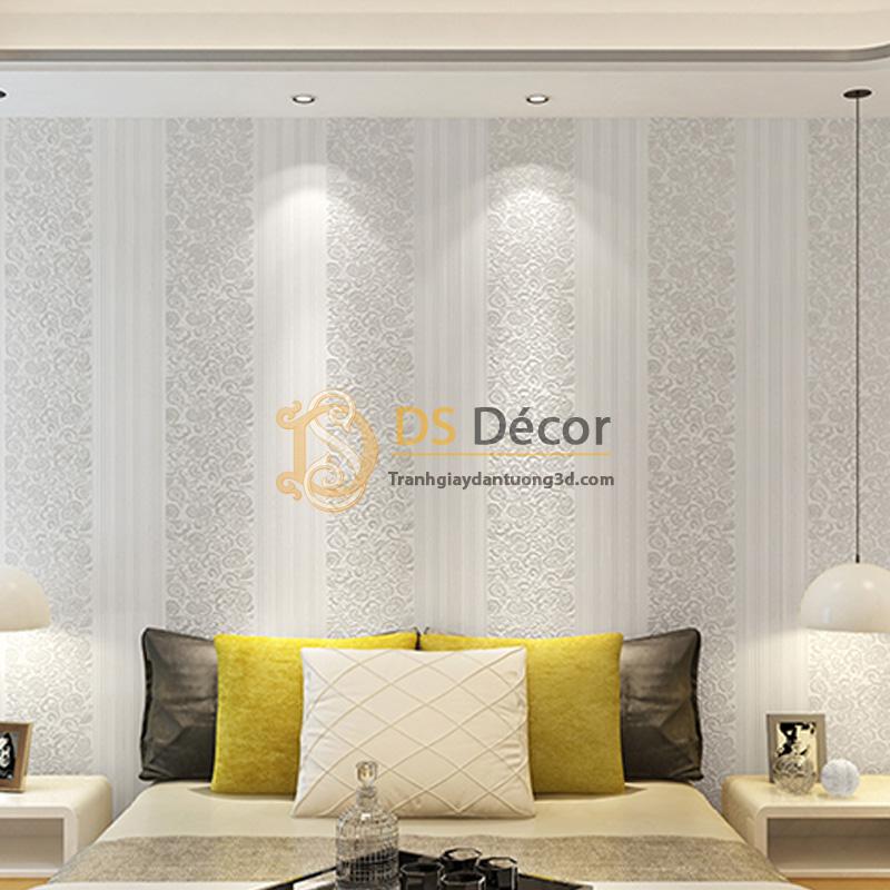Giấy dán tường 3d hoa văn sọc dọc dập nổi màu trắng