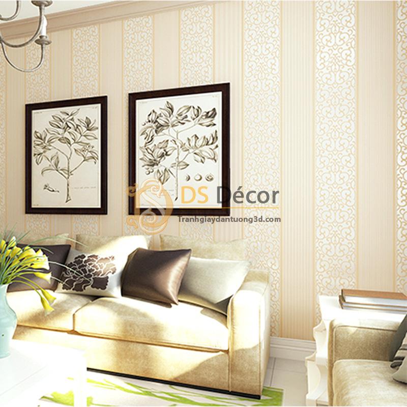 Giấy dán tường 3d hoa văn sọc dọc dập nổi màu vàng kem