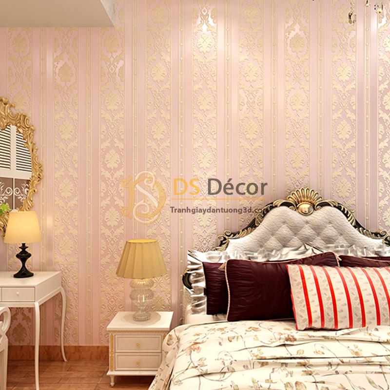 Giấy dán tường 3d hoa văn sọc dọc dập nổi màu vàng hồng