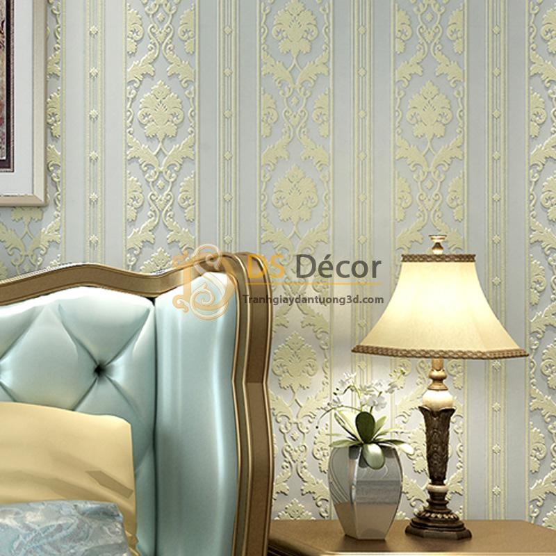 Giấy dán tường 3d hoa văn sọc dọc dập nổi màu xanh lơ