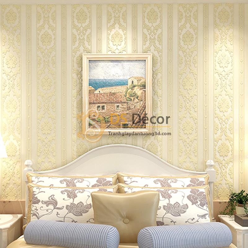 Sử dụng giấy dán tường họa tiết sọc dọc đứng cho căn phòng như cao, rộng ra.