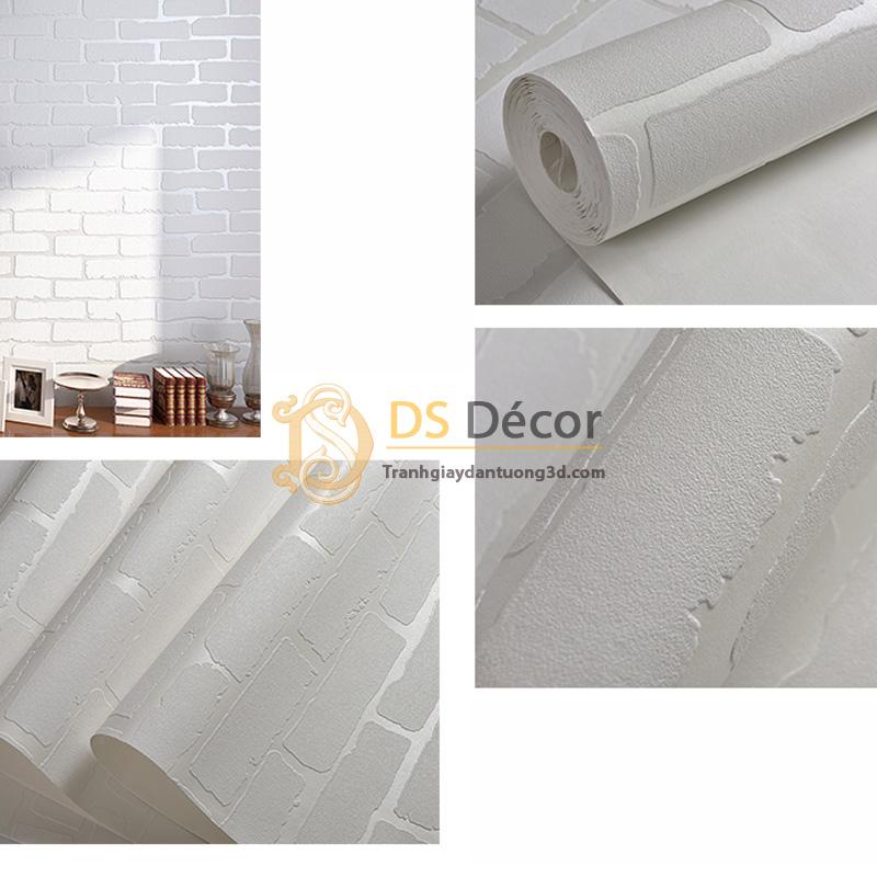 Be mặt giấy dán tường gach trắng 3D009