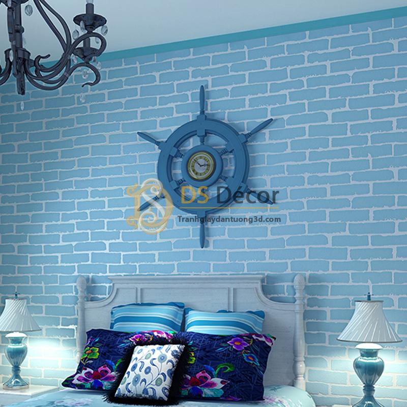 Giấy dán tường 3d họa tiết giả gạch hiện đại màu xanh dương