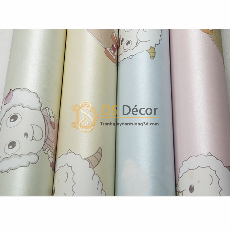 Các màu cơ bản của Giấy dán tường 3d họa tiết cừu vui vẻ