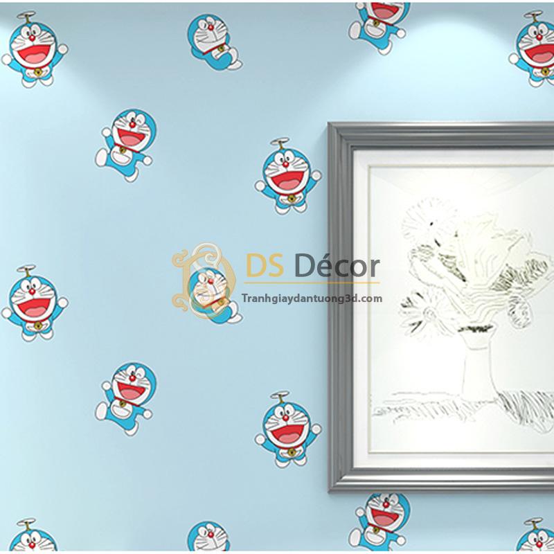Giấy dán tường 3d họa tiết doremon màu xanh dương
