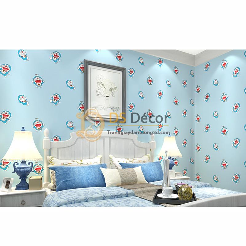 Giấy Dán Tường 3D – Họa Tiết Doremon 3D008 trang trí phòng cho bé