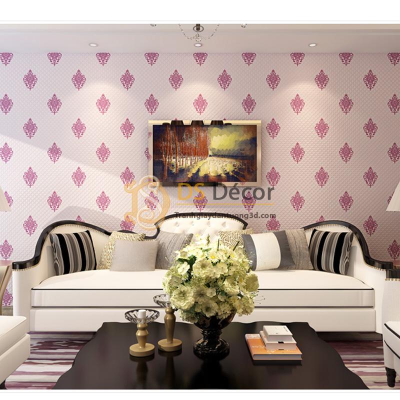 Giấy dán tường 3d họa tiết cách điệu đơn giản màu hồng