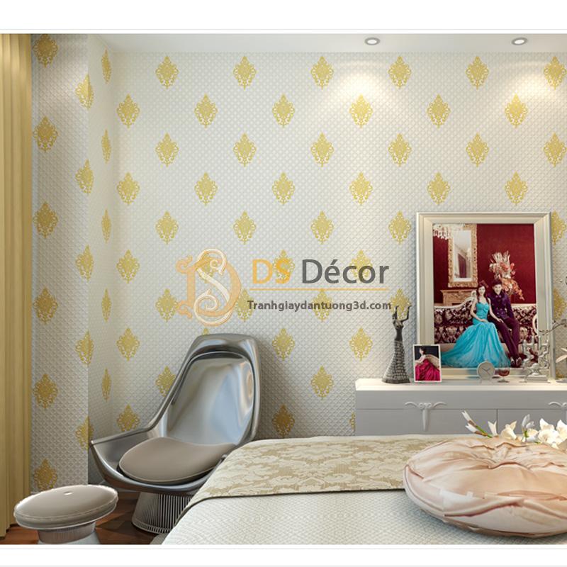 Giấy dán tường 3d họa tiết cách điệu đơn giản màu vàng
