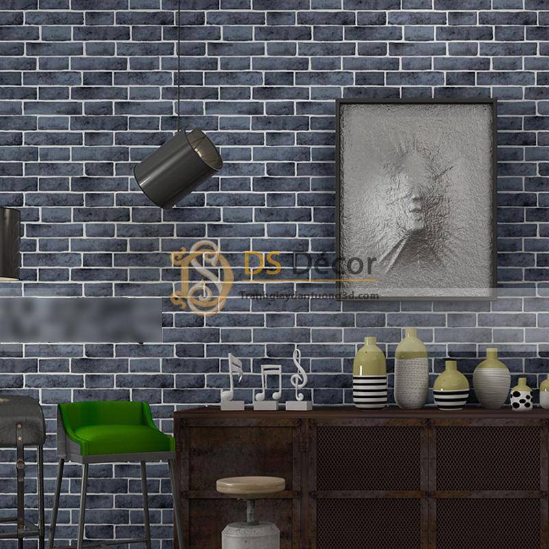 Giấy dán tường giả gạch đen