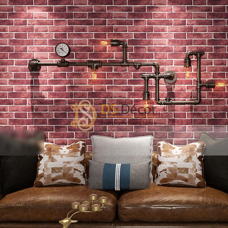 Giấy Dán Tường 3D – Họa Tiết Giả Gạch 3D006 màu tím