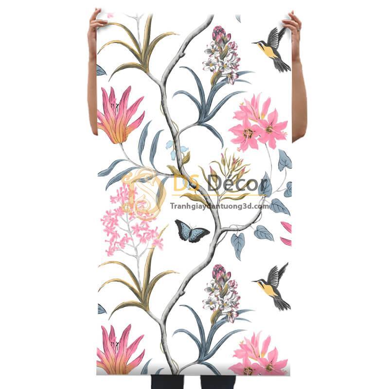 Bề măt Giấy dán tường vườn hoa và chim 3D057 dán phòng khách