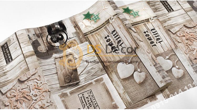 Bề mặt Giấy dán tường họa tiết giả gỗ kiểu retro 3D055 quán cafe