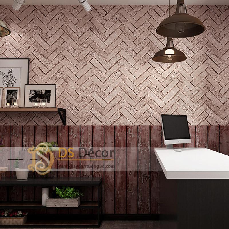 Giấy dán tường giả gạch chéo 3D061 màu hồng gạch