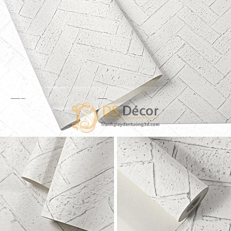 Bề mặt Giấy dán tường giả gạch chéo 3D061 màu trắng