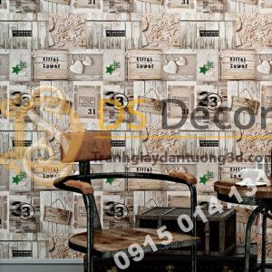 Giấy dán tường họa tiết giả gỗ kiểu retro 3D055 quán cafe