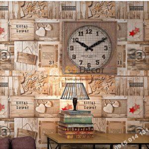 Giấy dán tường họa tiết giả gỗ kiểu retro 3D055 quán cafe sao đỏ