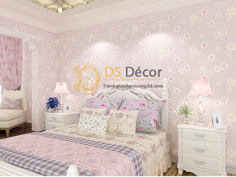 Giấy dán tường họa tiết hoa đào 3D068 màu tím trang trí phòng ngủ