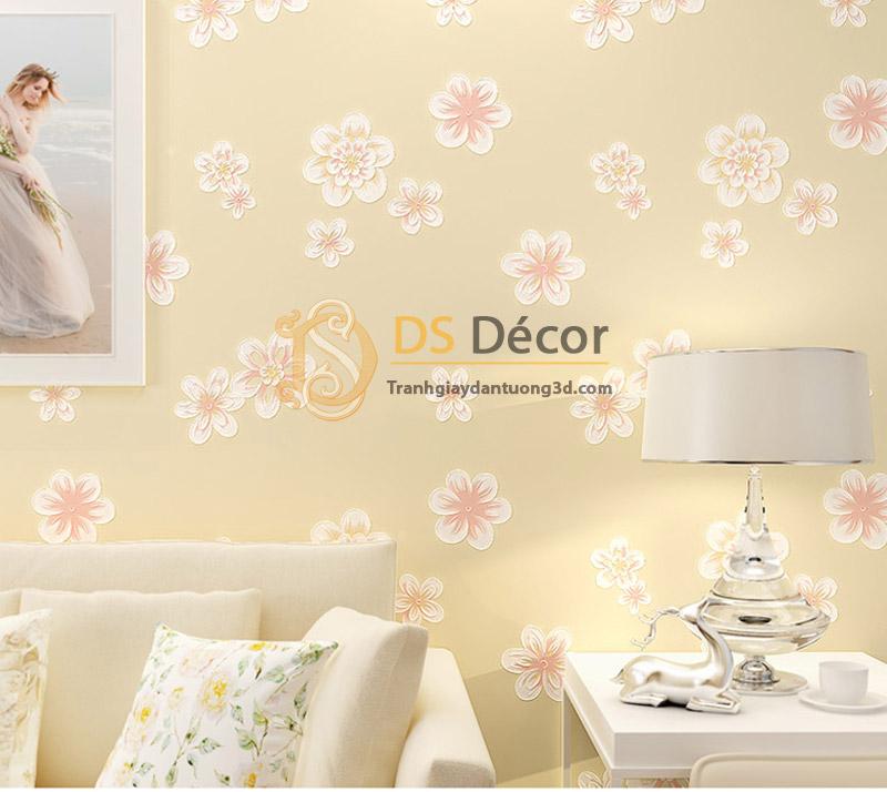 Giấy dán tường họa tiết hoa đào 3D068 màu vàng