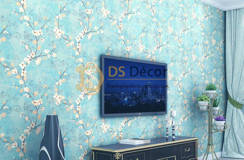 Giấy dán tường họa tiết hoa ban rừng 3D040 trang trí phòng khách