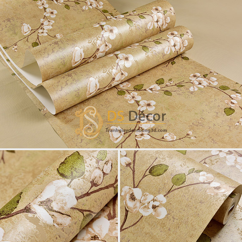 Bề mặt Giấy dán tường họa tiết hoa ban rừng 3D040