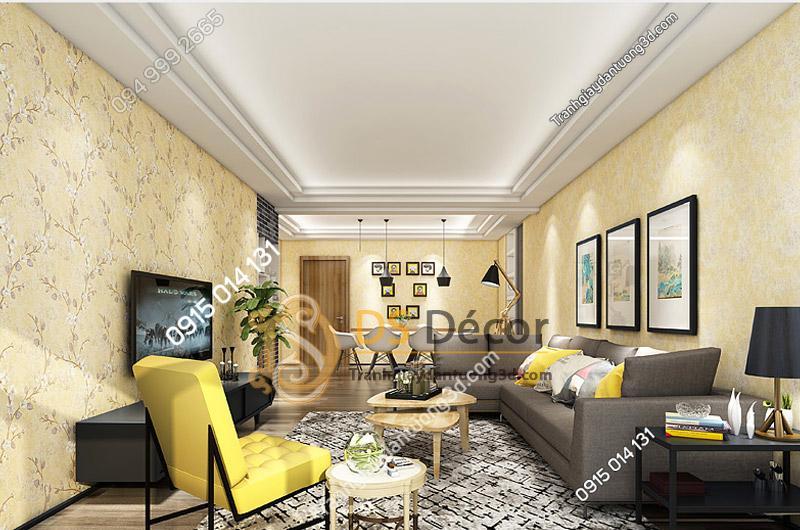 Phòng khách tuyệt đẹp với Giấy dán tường họa tiết hoa ban rừng 3D040 màu be