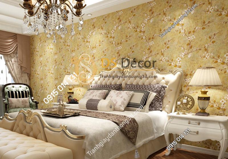 Phòng ngủ với Giấy dán tường họa tiết hoa ban rừng 3D040