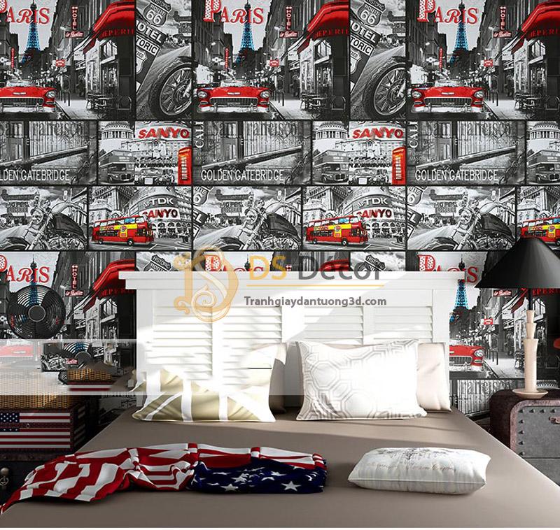 Giấy dán tường hình poster áp phích quảng cáo 3D053 trang trí phòng ngủ