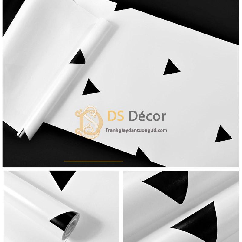 Bề mặt Giấy dán tường họa tiết tam giác đen trắng 3D048