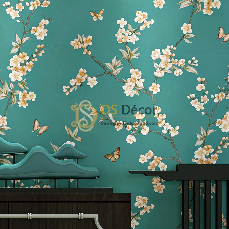 Giấy dán tường hoa đào và bướm hoa trắng nền xanh