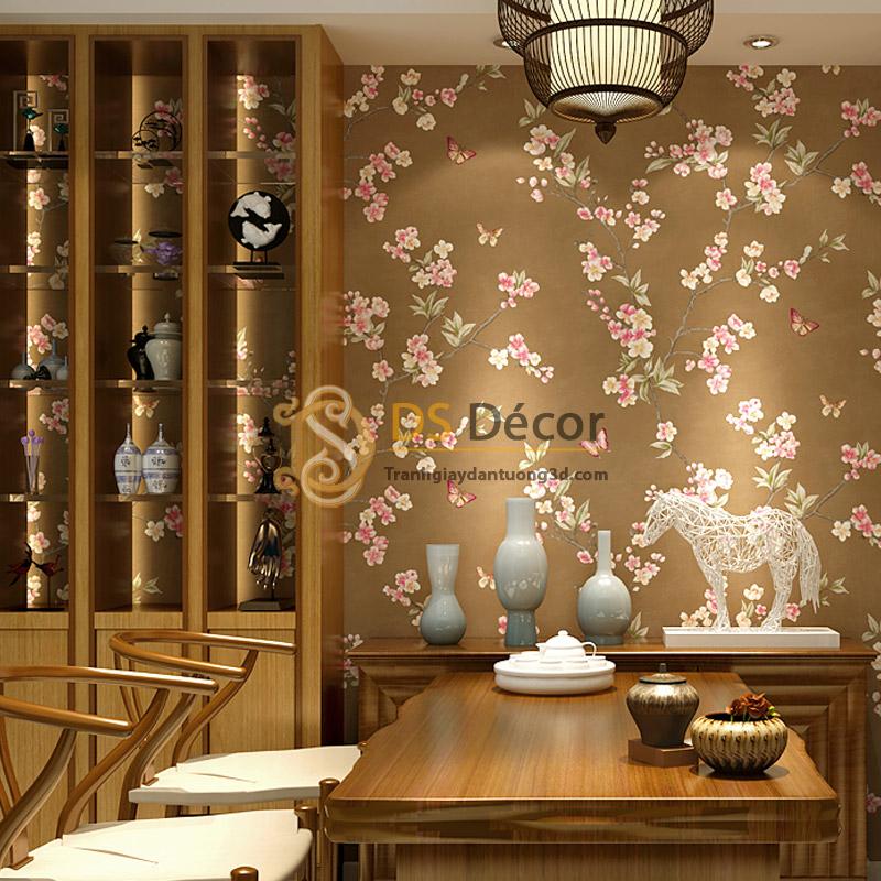 Giấy dán tường hoa đào và bướm hoa hồng nền nâu