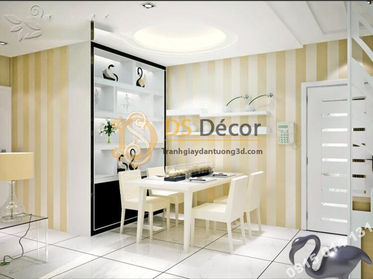 Giấy dán tường sọc dọc 071 màu be vàng phòng ăn