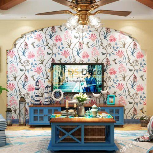 Giấy dán tường vườn hoa và chim 3D057 dán phòng khách